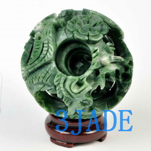 """4"""" Hand Carved 4 layers Green Stone Magic Puzzle Ball Sphere"""