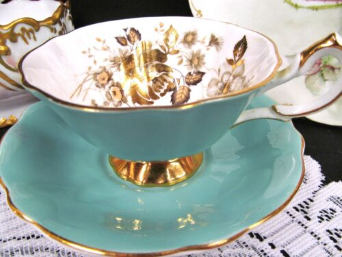 Queen Anne tea cup and saucer wide mouth gold roses pattern teacup teal blue
