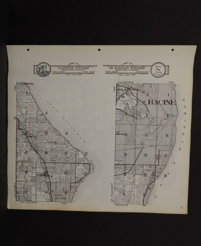 Wisconsin Racine County Map Calendonia Mt.Pleasant Township   c.1956  R5#72
