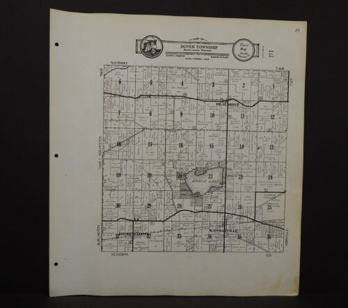 Wisconsin Racine County Map Dover Township   c.1956  R5#76