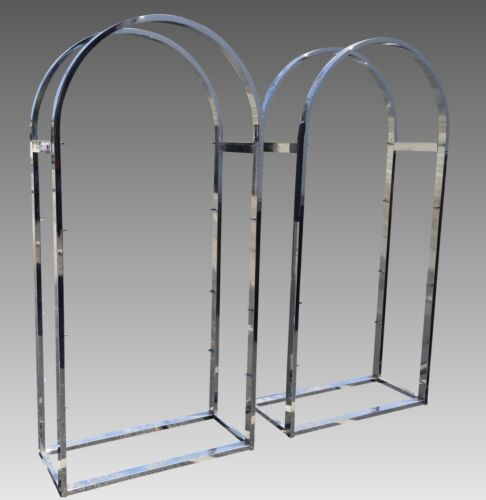 Pair of Mid Century Modern Chrome & Glass Etegere by Milo Baughman