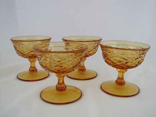 "4 Viking Glass Yesteryear Sherbets in Honey Gold Glass, 4"" tall"