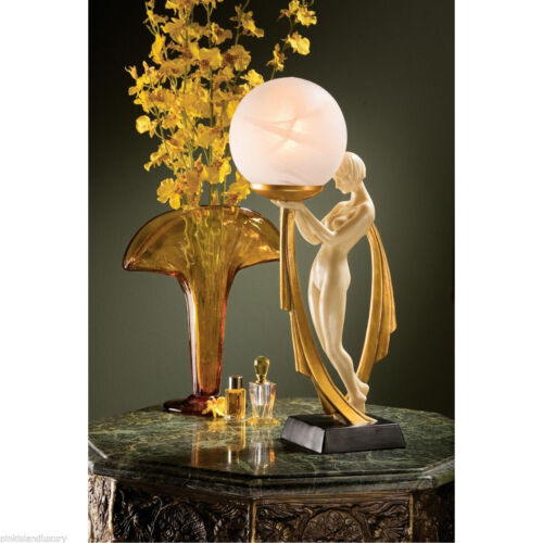 """Graceful Art Deco Lovely Lady Sculptural Lamp 16"""" Glass Orb Light Lamps NEW"""