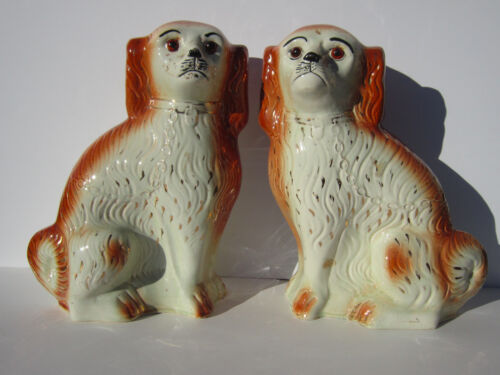 Antique 19thc Large Staffordshire Mantle Dogs King Charles Spaniels Matched Pair
