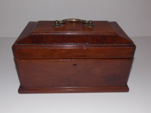 ANTIQUE MID 1800s WALNUT TEA CADDY WITH DRAWER & 2 DIVIDERS - ORIG BRASS HANDLE