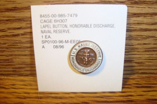 #1 one U.S.Navy-Naval Reserve Honorable Discharge Lapel Button Pin Copper Tone Navy - 66533