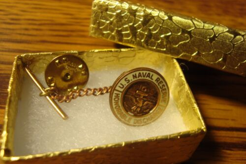 1 one U.S.Navy-Naval Reserve Honorable Discharge Lapel Button Clutch & Tie BackNavy - 66533