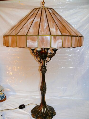 Antique Stained Glass Slag Pink Faux Tiffany 4 Arm Brass Candelabra Lamp Light