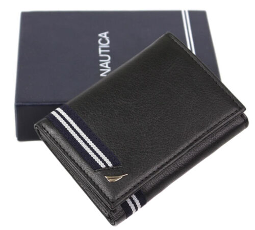 Nautica Men's Genuine Leather Trifold Credit Card ID Holder Wallet 31NU110002