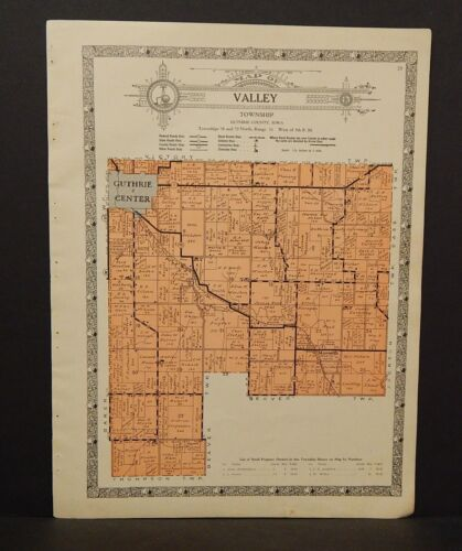 Iowa Guthrie County Map Valley Township 1928   W10#99