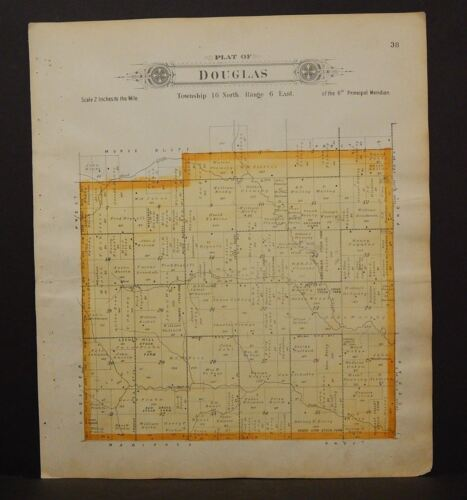 Nebraska Saunders County Map Chapman Township  1907 Double Side Q7#66