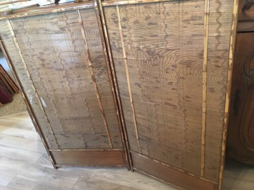 Antique Japanese Screen Room Divider Bamboo Wood Tsuitate Furniture 2 panel