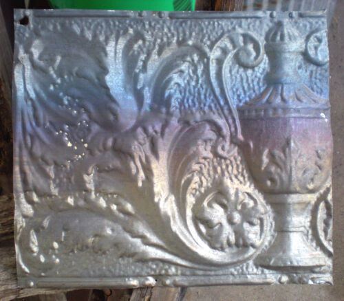 Antique Victorian Ceiling Tin Tile Acanthus Flowers Urn Leaves Cottage Chic