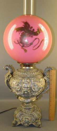 ANTIQUE VICTORIAN OIL LAMP GWTW ORNATE FIGURAL SPELTER GLASS PINK DRAGON SHADE