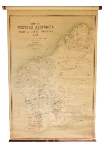 mappa cartina sheep and cattle stations 1921 western australia  by hope & klem