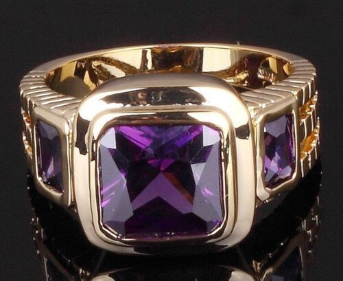 18K GOLD EP 2.5CT  AMETHYST EMERALD CUT MENS DRESS RING size 8 - 12