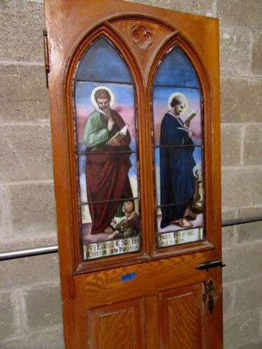 ~  ANTIQUE GOTHIC STAINED GLASS DOOR ~ EXCEPTIONAL ~ ARCHITECTURAL SALVAGE ~