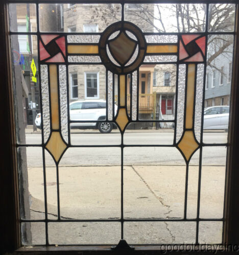 """Antique Stained Leaded Glass Window Chicago Bungalow 32"""" by 27"""" Circa 1925"""