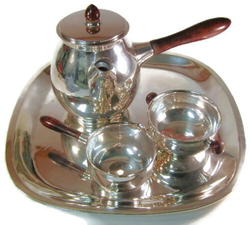 MCM Sanborns R Sanchez Modernist Sterling Silver Tea Coffee Service with Tray