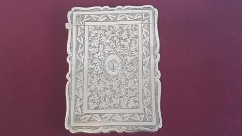Antique Sterling Silver Victorian Card Case w Ornate Chased Panels B'ham 1882