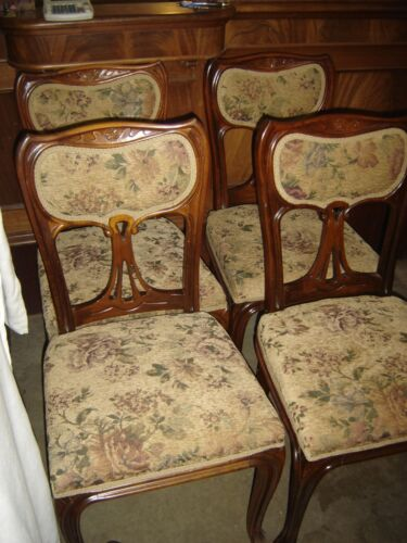 Set of 4 Antique Mahogany Dining Chairs with Upholstered seats and backs.7898