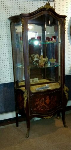 Antique Louis XV I style vernis Martin bronze mounted and marquetry vitrine