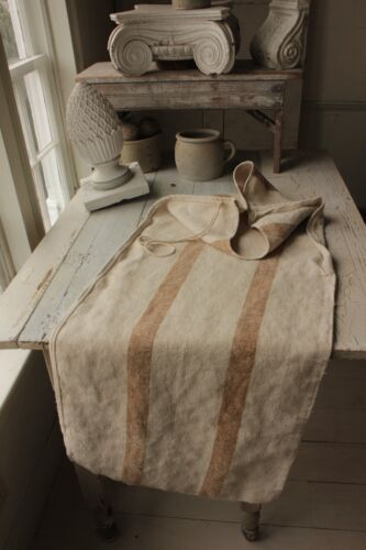 Antique hemp caramel stripe nubby grainsack linen grain sack feed bag CARAMEL