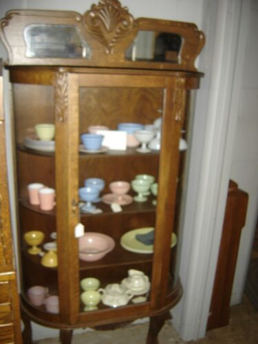Antique Oak Curved Glass China Cabinet, Claw-footed..   7680