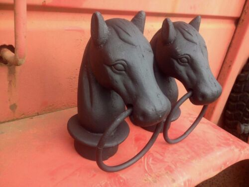 Reproduction Garden Cast Iron Horse Head W/ Ring Hitching Post Topper Pair