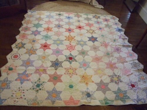Atq Vtg 6 Point Stars Cotton Quilt 30s Hand Stitch Quilted Pieced Feedsack Old