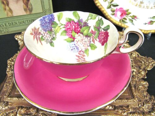 AYNSLEY TEA CUP AND SAUCER PINK & HYDRANGEA FLORAL PATTERN TEACUP LOW DORIS