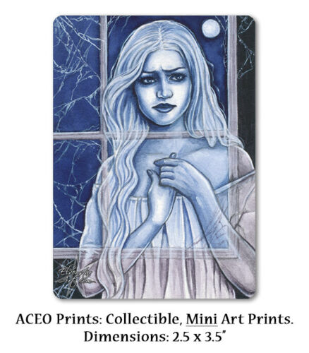 ACEO LE PRINT Gothic Ghost Supernatural Apparition Cobwebs Night Moon ATC wc