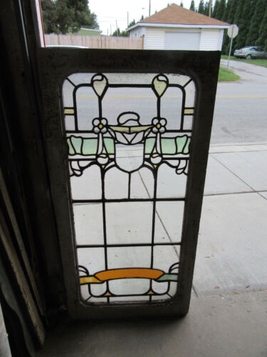 ~ BIG ANTIQUE AMERICAN STAINED GLASS WINDOW 29 X 59 ~  ARCHITECTURALSALVAGE ~