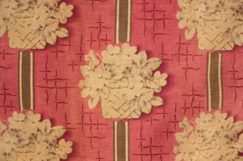 Vintage French printed fabric material c1920 1920's floral basket design piece