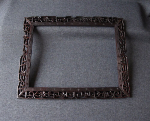 ANTIQUE JAPANESE FLOWERS & LEAVES CARVED FILIGREE WOODEN PICTURE FRAME