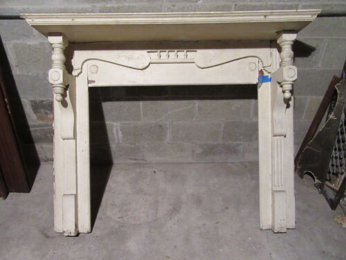 ~ ANTIQUE CARVED CHERRYWOOD FIREPLACE MANTEL ~ 42 OPENING  ARCHITECTURAL SALVAGE