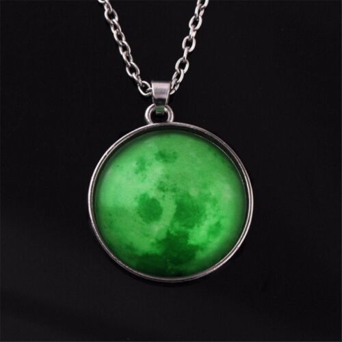 Moon Necklace Round Glow in the Dark Necklace (Green)  <br/> Paypal Accepted✔Same Business Day*Dispatch✔Powerseller✔