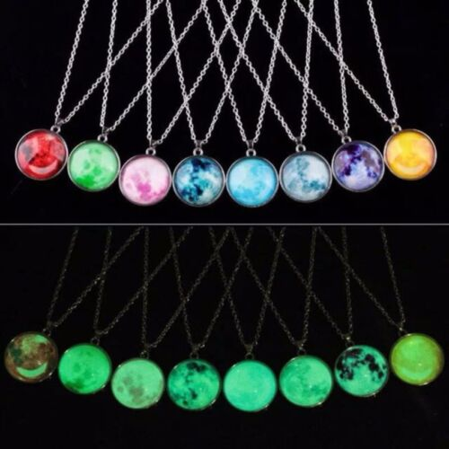 Moon Necklace Round Glow in the Dark Necklace (Blue)  <br/> Paypal Accepted✔Same Business Day*Dispatch✔Powerseller✔