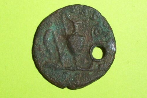 Ancient ROMAN COIN sacrificial implements COMMODUS 166 AD tools lituus PENDANT