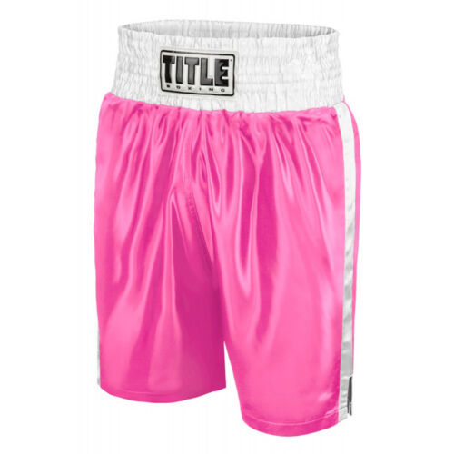 Title Professional Boxing Trunks - Medium - Pink/White <br/> Exclusive Seller of TITLE Boxing on eBay