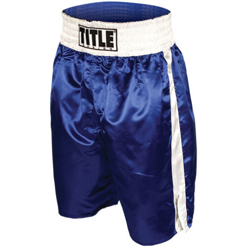 Title Professional Boxing Trunks - Blue/White <br/> Exclusive Seller of TITLE Boxing on eBay