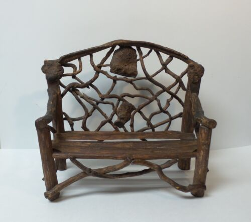 """Vintage Hand Crafted 12.5"""" Doll's Country / Primitive TWIG Settee (#1)"""