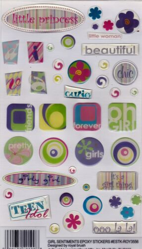 Royal & Langnickel 3D Epoxy Stickers ~GIRL SENTIMENTS ~ Scrapbooking/Cardmaking