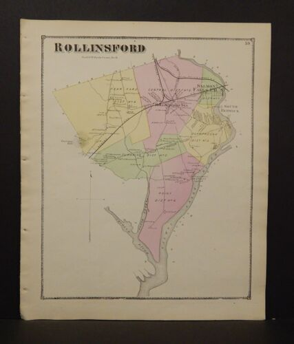 New Hampshire Strafford County Map Rollinsford Township 1871  Y15#05