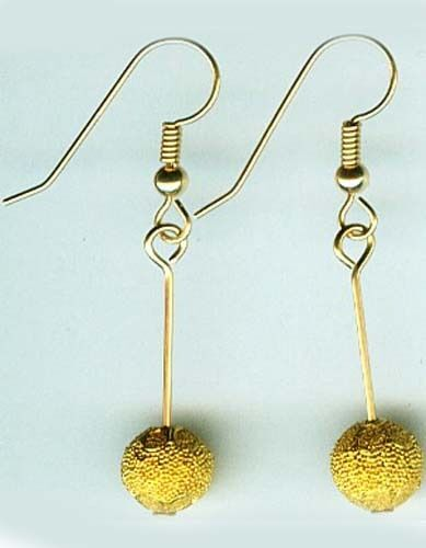 Gold Earrings Antique Russian 22kt Crete Minoan Ancient World Granulated Style