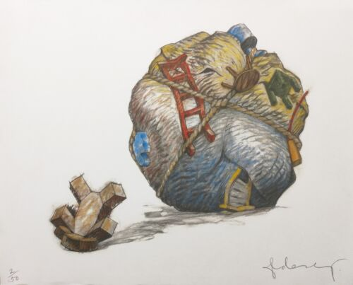 """CLAES OLDENBURG """"HOUSEBALL WITH FALLEN TOY BEAR"""" 1997   SIGNED PRINT   38 X 44"""""""