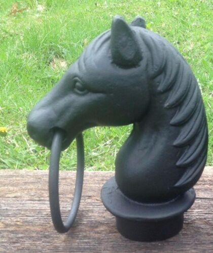 Cast Iron Single Horse Head With Ring Topper for Hitching Post  Black Heavy