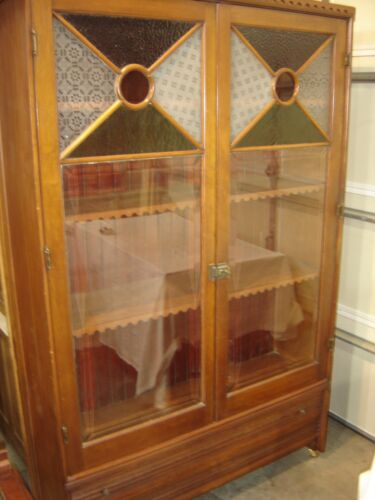 Antique Two-Door Cherry China Cabinet Beveled & Stained Glass Doors.  120