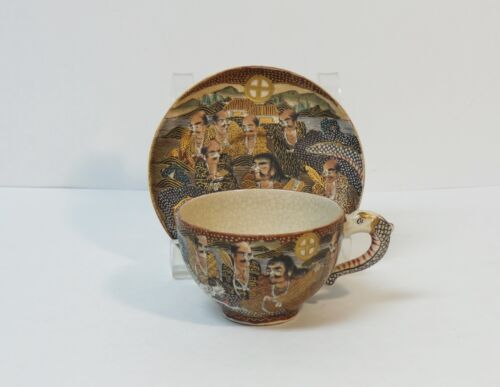19th C. Japanese SATSUMA Pottery Dragon Cup & Saucer, MEIJI PERIOD (1868-1912)