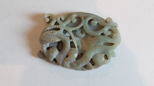 Unusual Hand Carved Chinese Jade Dragon & Phoenix Amulet